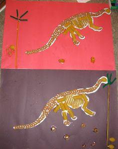 Dinosaur skeleton craft with pasta + other pasta crafts