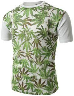 SMITHJAY Mens Hipster Hip-Hop Magic Leaf Marijuana Weed Print Mesh T-Shirt #smithjay