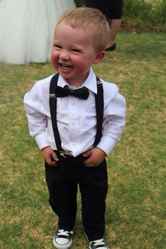 Industrie shirt, braces and bow tie Wedding Photo List, Wedding Page Boys, Our Wedding Day, Dream Wedding, Wedding Ideas, Wedding Entourage, Wedding Attire, Outfits With Converse, Boy Outfits