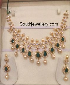 Emeralds and CZ Stones Necklace photo