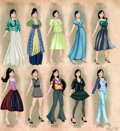 Mulan http://basaktinli.deviantart.com/art/Mulan-in-20th-century-fashion-by-BasakTinli-506660778