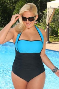 And finally there is Always for Me which has some of the hottest brands including their own label. This season I wanted to show you something different so I went with the 4-Way Bandeau Swimsuit by Carol Wior which comes in sizes 16 to 24 for $114.00 That halter neckline you see in the picture below can be moved around for different looks.  There are lots of other suits in retro prints and bright solids to choose from.  Flaunt those curves ladies!