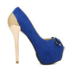 Royal Blue Golden Heel Peep Toe Pumps