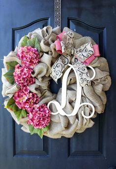 Burlap Wreath Hydrangea Etsy Wreath Wreaths by OurSentiments