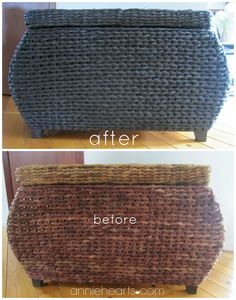 Thrifted wicker chest gets a makeover. anniehearts.com