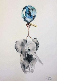 Print of an original illustration from my Far, Far Away series. This piece was initially created with watercolour and ink on Arches by? on Etsy (have others sim 4 artist name) ♥ Inspiration Art, Art Inspo, Elefante Tattoo, Aquarell Tattoos, Elephant Love, Water Color Elephant, Elephant Balloon, Elephant Canvas, Indian Elephant Art