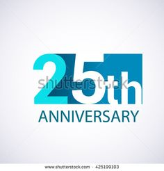 Template Logo 25th anniversary. 25 years anniversary blue colored vector design. - stock vector