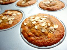 Healthy Peanut Butter Oat Muffin close up