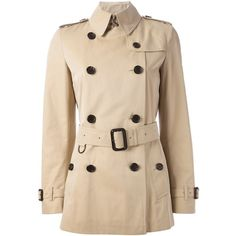 Burberry London Balmoral Trench Coat ($929) ❤ liked on Polyvore featuring outerwear, coats, jackets, burberry, casacos, pink double breasted coat, pink trench coat, cotton trench coat, double-breasted coat and burberry coat