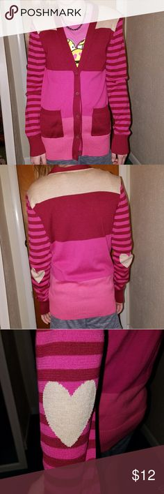Heart elbow button up sweater Adorable red and pink sweater with cream-colored hearts on the elbows.  Button up-front. Perfect for Valentine's day or everyday. Falls Creek Shirts & Tops Sweaters