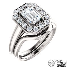 Emerald Cut Halo Engagement Ring with Plain Shank and Matching Curved Wedding Band available at Wheat Jewelers #engagementring #weddingband