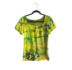 One-of-a-kind hand dyed Spring cotton knit top.