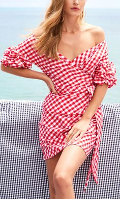 Red gingham wrap dress