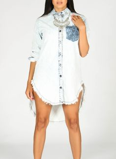 High-low denim dress. Soft smooth tight stretch fabric with a distress look. 97%…