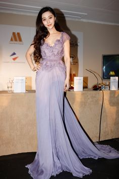 "Fan Bingbing in Elie Saab Spring 2011 at the ""Marche du Film China Night"" press conference during the Cannes Film Festival, May 2011 Fan Bingbing, Elie Saab, Lavender Prom Dresses, Purple Dress, Wedding Dresses, Plus Size Dresses, Nice Dresses, Long Dresses, Girls First Communion Dresses"
