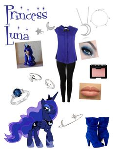 """Princess Luna from my little pony"" by zamantha-palazuelos ❤ liked on Polyvore featuring A. Link, My Little Pony, NIKE, NARS Cosmetics, Milly, BERRICLE, Social Anarchy, Blue Nile and Tai"