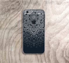 Black iPhone 6s Case Clear Mandala iPhone 6s Case by casesbycsera