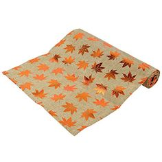 Autumnal Copper Leaf and Hessian Table Runner