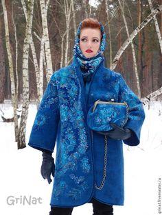 """Купить Валяный пальто """"Признание синего"""" - синий, пальто валяное, grinat, наталия гришаева, войлок"""