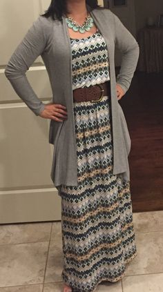 Love the print and colors!  The necklace & belt are good too! Karly maxi dress by Gilli from March 2015 Stitch Fix                                                                                                                                                     More