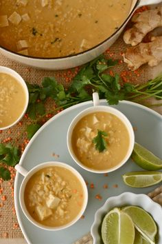 Red Lentil & Brown Rice Soup with Coconut Milk | Jessie Monds