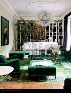 Renée Finberg ' TELLS ALL ' in her blog of her Adventures in Design: Emerald Green Interiors  #green #windows