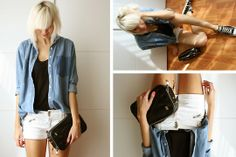 Monki Denim Oversized Shirt, Topshop Dropped Armhole Tanktop, Zara Old Shorts With Zippers, Zara Clutch