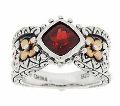 Barbara Bixby Sterling & 18K Cushion Cut Gemstone Ring