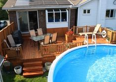 How Does Pergola Work Info: 2735635668 Above Ground Pool Landscaping, Above Ground Pool Decks, Small Backyard Pools, Backyard Patio Designs, Backyard Pergola, Patio Ideas, Pool Ideas, Outdoor Ideas, Backyard Ideas