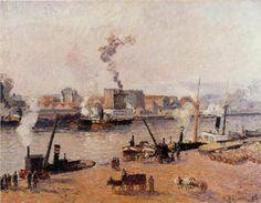 Foggy Morning, Rouen - Camille Pissarro