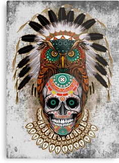 indian native Owl sugar Skull Metal Prints #metalprint #metal #print #thedayofthedead #mexico #sugarskull #mexicoskull #horror #pattern #love #popart #indian