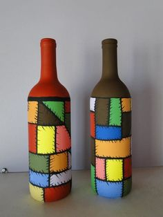 , find hand made, old, as well as one regarding a kind goods and items related to your quest. Painted Glass Bottles, Glass Bottle Crafts, Wine Bottle Art, Painted Jars, Diy Bottle, Decorated Bottles, Garrafa Diy, Pottery Painting Designs, Decoupage Glass