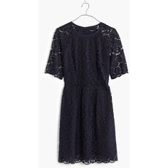 MADEWELL Lace Magnolia Dress ($168) ❤ liked on Polyvore featuring dresses, night vision, scalloped hem dress, blue dress, scalloped dress, lace dress and sheer sleeve dress
