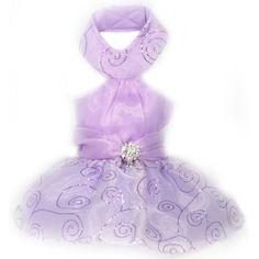 Purple Halter Dog Prom Dress