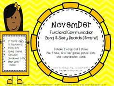 {This is the individual month...this product is also included within the Fall season bundle and an entire year mega-bundle!!}This is a packet for teachers, therapists, and parents looking for tools to make songs and stories more accessible for functional communicators.