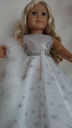 18 inch doll clothes  256 White & Silver Gown by susiestitchit