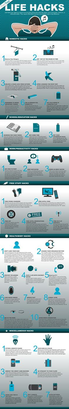 35 MacGyver Tips, Clever Uses, and Other Life Hacks in One Infographic. More killer ideas at http://goo.gl/QaQJw