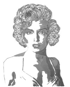 """Marilyn Monroe Portrait Giclee Canvas Art Print Marilyn Monroe Wall Decor 8x10, 11x14 or 16x20 On Gallery Wrapped Canvas by Artist Amber McDowell. Giclee canvas art print of my original Marilyn Monroe painting in gray, black and white. Gallery wrapped canvas is printed with 100% archival inks with a 12 color process for perfect vibrant colors. These prints come with hanging hardware installed and felt bumpers. Gallery wrapped canvas are 1.5"""" in width for a museum art feel."""