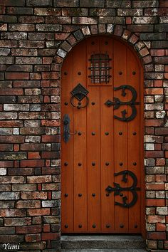 It just looks so right to have a wood door with black iron hardware in a red brick wall Door Knockers, Door Knobs, Arched Front Door, Medieval Door, Wood Arch, Cool Doors, Wooden Doors, Entry Doors, Doorway