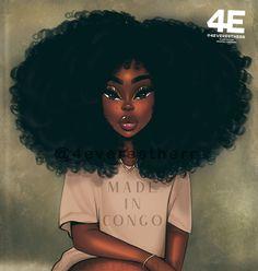 Black Love Art, Beautiful Black Girl, Black Girl Art, Art Girl, Black Art Painting, Black Artwork, Divas, Creative Profile Picture, Drawings Of Black Girls