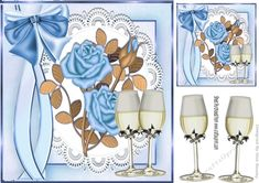 Blue Roses  on lace with champagne for Anniversary 8x8 on Craftsuprint designed by Nick Bowley - Blue Roses, on lace with champagne for Anniversary 8x8 with topper makes a pretty card to celebrate, can be used for golden wedding - Now available for download!