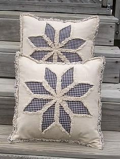 Sewing Pillows Primitive Country 8 Point Star Reverse Applique Pillow Cover E Pattern PDF - Applique Pillows, Sewing Pillows, Diy Pillows, Decorative Pillows, Throw Pillows, Cushions To Make, Rag Quilt, Quilt Blocks, Quilting Projects