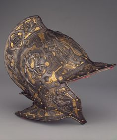 Burgonet Open Helmet. Place of creation: Italy. Date: 1570-1580s. Material: steel and velvet. Technique: chased, engraved and gilded.