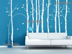 Birch tree flying birds vinyl Wall decal room baby by Isabeljia, $50.00