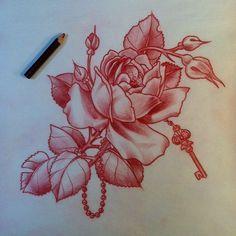 Rose Tattoo Design With Key