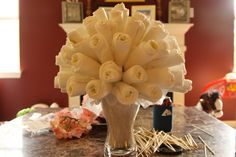 Step By step on how to make this darling Diaper bouquet .      Awww now all I needs is for someone to have a baby !