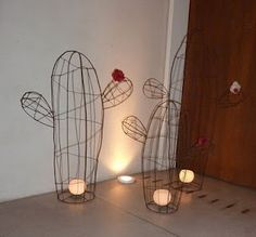 wire cactus candle holder