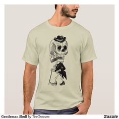 Shop Gentleman Skull T-Shirt created by TeeGrooves. Cheap Fashion, Fashion Outfits, Cheap Gifts, Gentleman, Shop Now, Fitness Models, How To Become, Skull, Funny