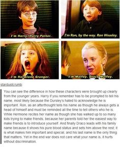 Harry Potter Ron Weasley Hermione Granger and Draco Malfoy introductions