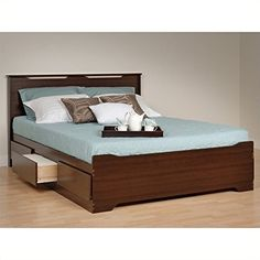 Prepac Coal Harbor Queen Platform Storage Bed with Headboard in Espresso ** Check this awesome product by going to the link at the image.